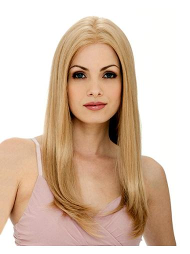 Impressive Blonde Lace Front Remy Human Hair Long Wigs