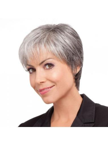 Soft Lace Front Synthetic Short Grey Wigs