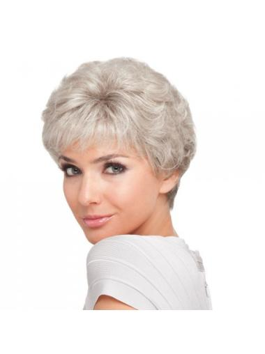 Natural Curly Synthetic Short Grey Wigs