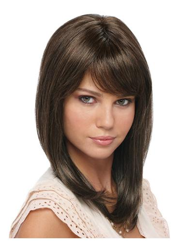 Affordable Brown Straight Shoulder Length Glueless Lace Wigs