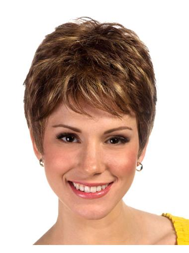 Brown Perfect Boycuts Straight Short Wigs
