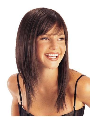 Brown Straight Synthetic Style Medium Wigs
