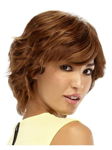 Blonde Wavy Remy Human Hair Affordable Short Wigs