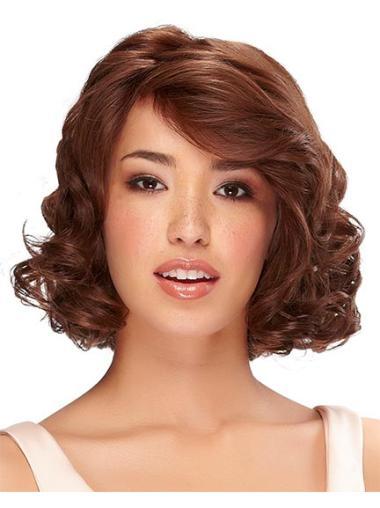 Polite Remy Human Hair Auburn Curly Medium Wigs