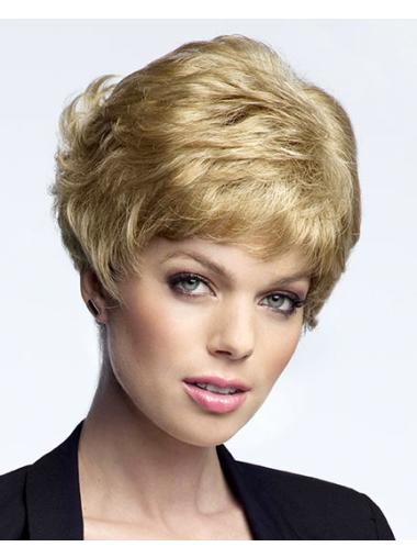 No Fuss Curly Boycuts Blonde Short Wigs Lace Front Wigs