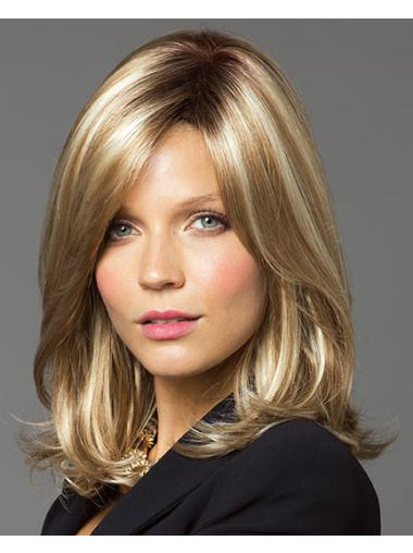 Blonde Lace Front Synthetic Glamorous Medium Wigs