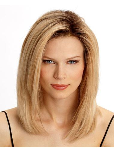 Affordable Blonde Lace Front Shoulder Length Remy Human Lace Wigs