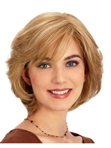 Convenient Blonde Wavy Chin Length Lace Front Wigs