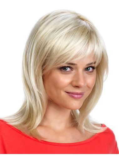 Mature Blonde Monofilament Synthetic Long Wigs