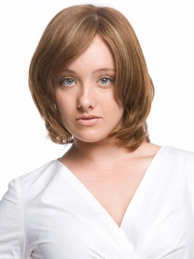 Monofilament Wavy Remy Human Hair Stylish Medium Wigs