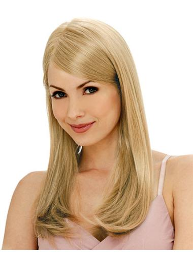 Designed Blonde Monofilament Remy Human Hair Long Wigs