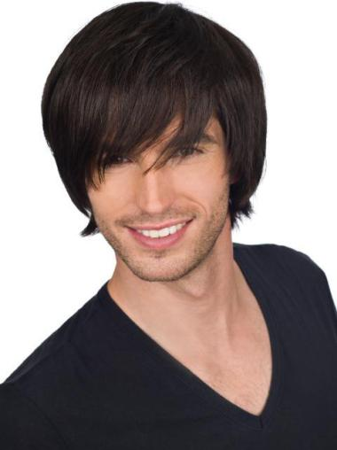 New Straight Full Lace Short Men Wigs