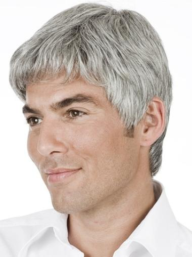 High Quality Straight Hand Tied Short Men Wigs