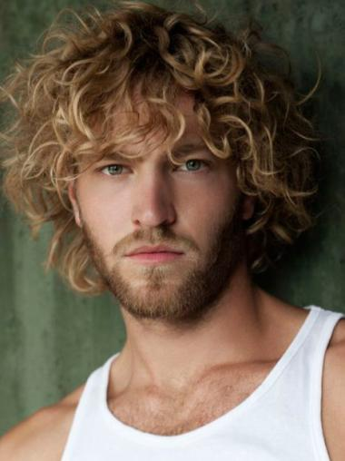 Affordable Curly Full Lace Short Men Wigs
