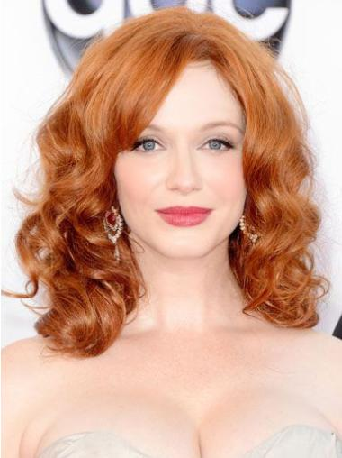 Discount Shoulder Length Wavy Full Lace Copper Wigs 16