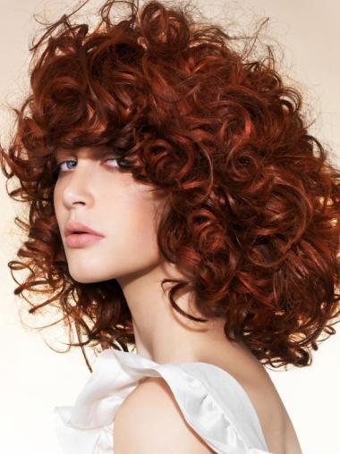 Fabulous Chin Length Curly Lace Front Copper Wigs 16 Inch