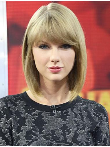 New Design Shoulder Length Straight Blonde With Bangs Taylor Swift Inspired Wigs
