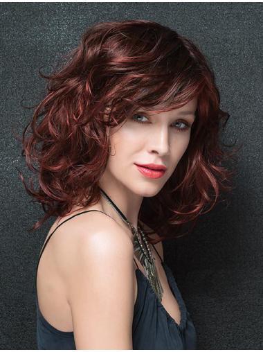 Exquisite Shoulder Length Wavy Auburn Classic Wigs Remy