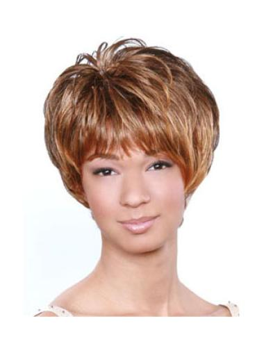 Cheap Brown Wavy Short African American Wigs
