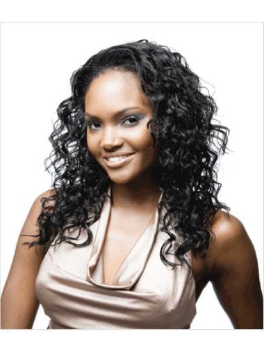 Stylish Black Curly Long Human Hair Wigs & Half Wigs