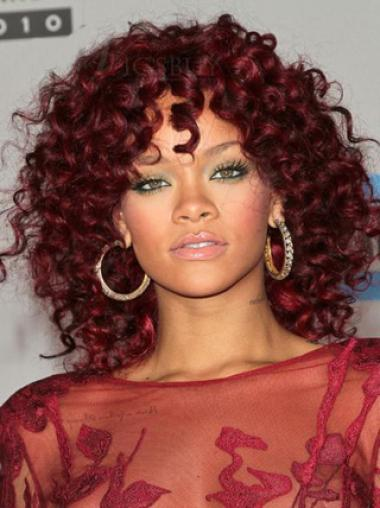 Rihanna's Hairstyle Red Medium Curly Capless Wig 150% Density 100% Human Hair 14 Inches