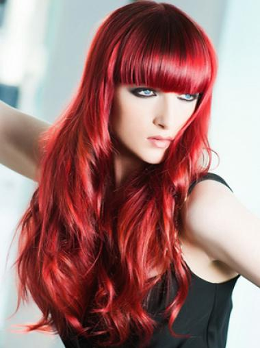Light Red With Bangs Capless Human Wigs