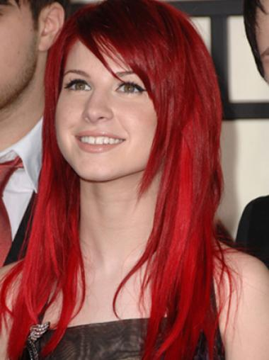 Girl's Red Straight Lace Front Synthetic Wigs