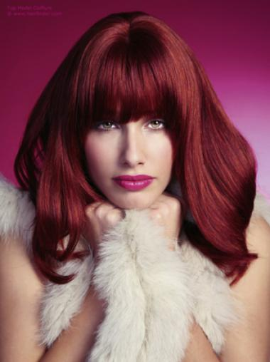 Shoulder Length With Neat Bangs Dark Red Human Wigs