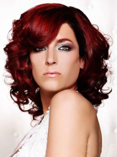 14 Inches Curly Dark Red Lace Front Human Wigs