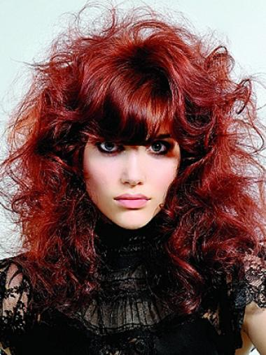 16 Inches With Neat Bangs Red Capless Human Hair Wigs