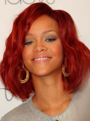 Rihanna Red Wavy Chin Length Lace Front Human Wigs