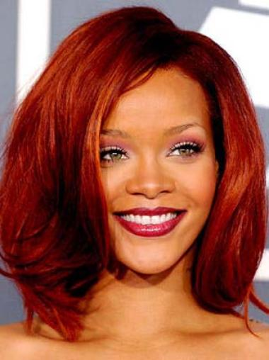 Rihanna Red With Simple Wavy 12 Inches Lace Front Human Wigs