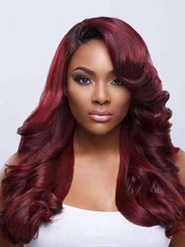 Dark Red Long Wavy With Wavy Bangs Charming Lace Front Wigs