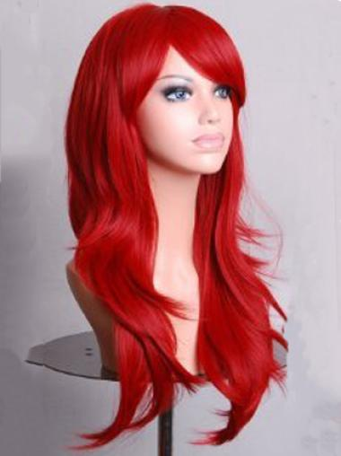 Dark Red Long Wavy With Bangs Lace Front Synthetic Wigs