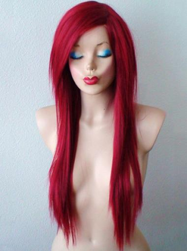 24 Inches Long Straight Lace Front Synthetic Red Wigs