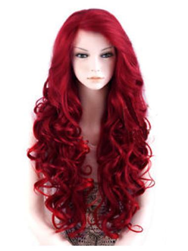 24 Inches Long Wavy Lace Front Red Synthetic Wigs
