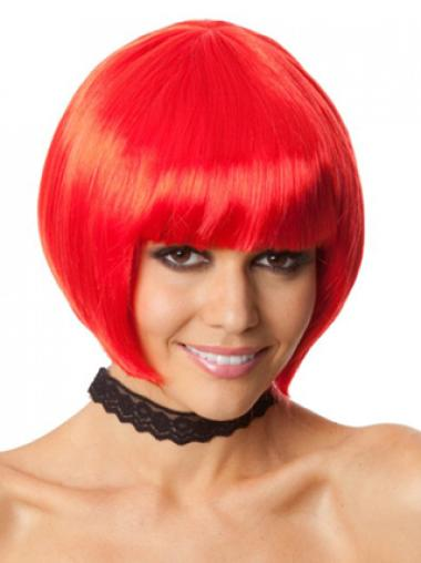 New Arrived Red Bobs With Neat Bangs Synthetic Wigs