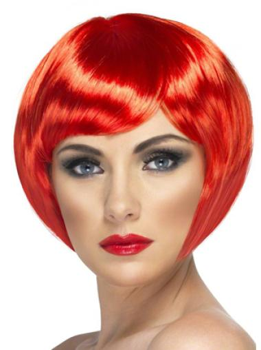 Bright Red Bobs Capless Synthetic Wigs