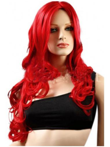 Classic Red Long Wavy 22 Inches Lace Front Synthetic Wigs