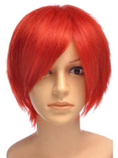 8 Inches Short Straight Lace Front Red Synthetic Wigs
