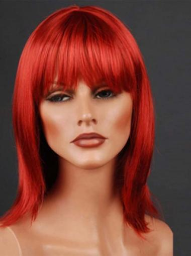 14 Inches With Neat Bangs Monofilament Synthetic Wigs
