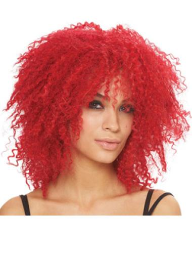 14 Inches Kinky Lace Front Red Synthetic Wigs