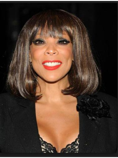 Wendy Williams Bob Hairstyle Medium Straight Full Bang Capless Human Hair Wigs 12 Inches