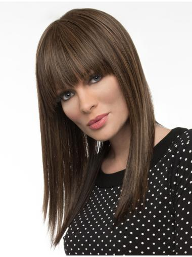 Perfect Long Straight Brown Elegant With Bangs Wigs