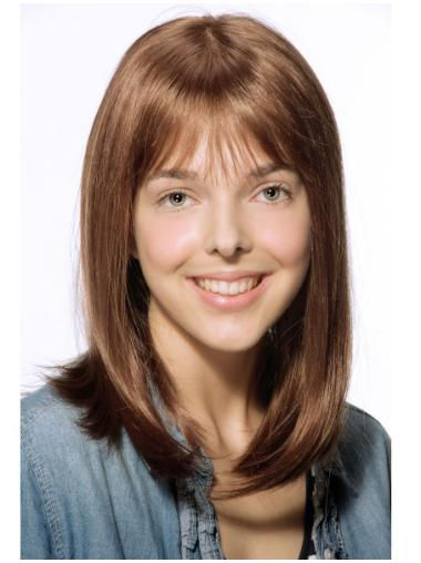 Wonderful Shoulder Length Straight Brown With Bangs High Quality Wigs