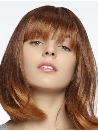 Fashional Auburn Shoulder Length Straight With Bangs High Quality Wigs