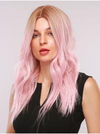 Ombre Pink Wig with Blonde Roots Natural Loose Wave Synthetic Wig Middle Parting Heat Resistant Hair Wig for Women Girls