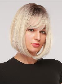 Platinum Blonde with Dark Brown Roots Chin Length Straight Bobs Style Synthetic Wig with Bangs Heat Resistant Hair Wig for Women Girls