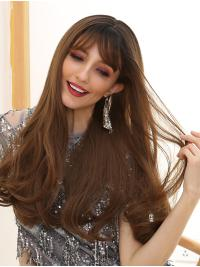 Long Body Wavy Ombre Brown with Dark Roots Wigs with Side fringe Heat Resistant Synthetic Hair Wigs for Women Cosplay Halloween Fancy Dress Party Daily Wear