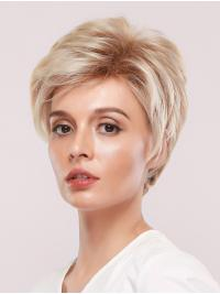 Layered Short Platinum Blonde Wigs with Brown Roots Straight without Fringes Side Parting Synthetic Wig Heat Resistant Hair Replacement for Women Daily Wear